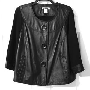 Nygard Collection Leather & Knit Jacket 1X 2X Plus